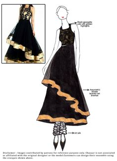 Diy Black Net Asymmetrical Anarkali