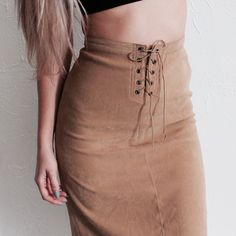 Lace Up Suede Style Skirt Camel color suede style pencil skirt, a piece from the Revolt Society Modern Vintage Collection. marked as a 12. High waisted style. No trades. Skirts Pencil