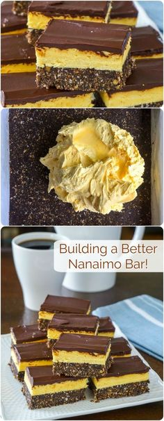 Nanaimo Bars - building a better version of a classic Canadian cookie treat! - - Nanaimo Bars - building a better version. Try this revamped version of the classic Canadian treat with a more substantial base layer and an improved filling. No Bake Treats, No Bake Desserts, Just Desserts, Yummy Treats, Sweet Treats, Dessert Recipes, Yummy Food, Finger Desserts, Mini Desserts