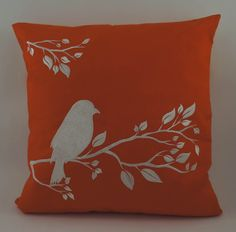 Bird On Branch Pillow Cover Embroidery Spring by IndoDesigns