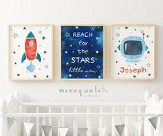 ROCKET Blue SKy Astronaut helmet Space for child kids baby boy reach for the star little man quote nursery decor Baby Boy Room Decor, Baby Room Art, Baby Boy Rooms, Kids Rooms, Nursery Themes, Nursery Prints, Nursery Decor, Baby Boys, Boy Drawing
