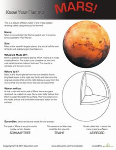 Third Grade Earth & Space Science Worksheets: Know Your Planets: Mars