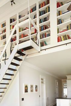 Bookshelves take advantage of a ceiling transition between the kitchen and living room. A rolling library ladder with platform was added to access them.