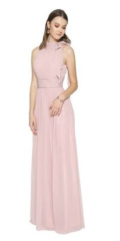 Dusty Rose Sleeveless Long Formal Dress with Halter High Neckline