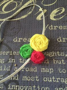 Hot pink, yellow, and green Rosette elastic headband. by Sparklepretty1 on Etsy