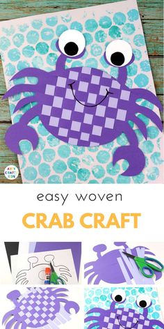 Arty Crafty Kids - Craft Ideas for Kids - Easy Woven Crab Craft for Kids - Super Cute crab weaving craft that kids will adore, while giving their hands a little fine motor work out during the creative process. Great a craft for an under the sea themed top Crab Crafts, Arts And Crafts For Teens, Easy Arts And Crafts, Easy Crafts For Kids, Toddler Crafts, Creative Crafts, Preschool Crafts, Fun Crafts, Art For Kids