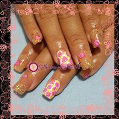 #nails #uñasbellas #uñasacrilicas #acrilycnails #uñas #diseño #kimerasmails #glitter #pink #fresas #nude #vintage #rosas