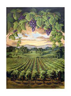 Vineyard Scene drawings | Mystic Mountain Hand Painted Mural | Painting | Wine Art