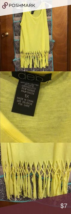 1X Neon Yellow Fringed Shirt Never worn but I took the tags off. Fun for the beach over a bathing suit. Tops Tank Tops