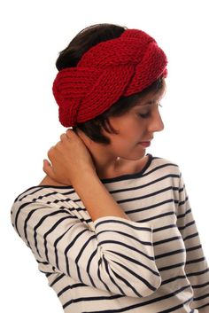 Cabled hand knitted headband / ear warmer in red color. $35.00, via Etsy.