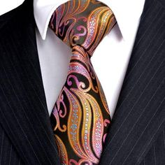 cafef55ab341 Free Shipping Stripes Paisley Multicolor Green Yellow Red Pink Black Mens  Ties Neckties 100% Silk