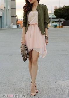 Pink chiffon dress  Army color jacket