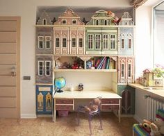 The City by Anastasia Nemolyaeva. The cabinet in this child's bedroom was designed to look like a European city.