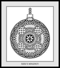 #christmas ball #christmas #zendoodle # zentangle #mandala #lineart #free doodle art #creativ #kreativ Zendoodle, Christmas Balls, Christmas Ornaments, Doodle Art, Tangled, Line Art, Flask, Mandala, Doodles