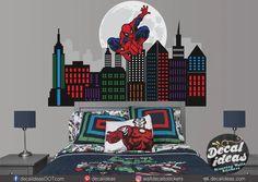 Spiderman Wall Decal Gotham City Decal Superhero City | Etsy Large Wall Decals, Nursery Wall Decals, Vinyl Wall Decals, Wall Murals, Superhero City, Superhero Room, Childrens Room Decor, Boys Room Decor, Batman Bedroom