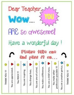 You R Amazing . This printable is a quick and easy way to encourage teachers.Post in lounge or the workroom area! Teacher Morale, Staff Morale, My Teacher, Teacher Gifts, Staff Gifts, Team Gifts, Morale Boosters, Conscious Discipline, Instructional Coaching