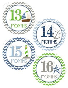 Monthly Baby stickers- baby boy second year monthly stickers- 13-24 months growth and development- Green Navy & Gray Nautical 13-24 - BOY322 by ClamsAndaHamDog on Etsy