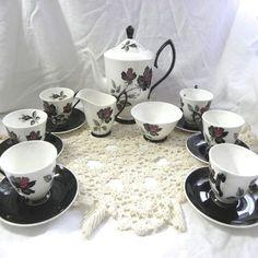 Masquerade Gothic vintage coffee set Royal Albert service in black & red rose on white bone china 6 cups & saucers sugar bowl cream jug & pot