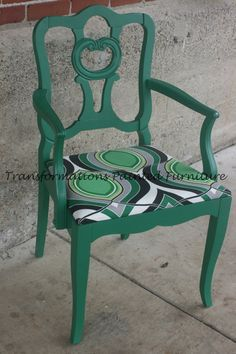 antique chair painted modern upholstery green