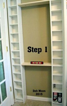 I modified two Ikea units to fit the space behind the door to my craft room…