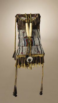 Native American:Beadwork, Kiowa Strike-A-Light Case. Circa 1885. Length 9 3/4 in. overall.Length 6 in. case proper. This typical example is ...