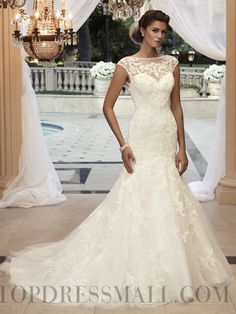 2014 Graceful Lace Bateau Zip-up Cathedral Train Wedding Dresses : topdressmall.com