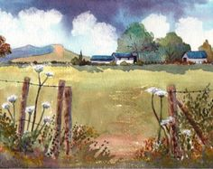 Watercolour Print, Landscape, Welsh Farm, Cow Parsley, The Brecon Beacons, Wales, 8ins x 6ins, Gift Idea, Art and Collectables