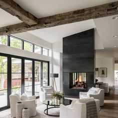 Contemporary living rooms - Modern rustic farmhouse living room with a firep. - - Contemporary living rooms - Modern rustic farmhouse living room with a fireplace. Modern Contemporary Living Room, Living Room Modern, Living Room Interior, Living Room Designs, Farmhouse Contemporary, Small Living, Contemporary Rustic Decor, Clean Living, Lounge Design