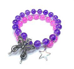 Wickelarmband mit Crackle-Perlen und einem wunderschönen Schmetterling Anhänger, sowie zwei Sternen.