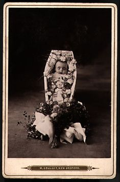 An example of post-mortem photography. This type of image may seem to us to be in questionable taste, but bear in mind that most people did not own cameras and to be photographed was a big event, and not a cheap one. And often, the post-mortem photograph might be the only image the family had of their departed loved one.