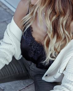 Lacy tank with cardi