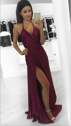 2016 Modest Prom Dresses,Sexy New Prom Dress,A-Line Burgundy Prom Dress,Slit Formal Dresses,Silk Satin Prom Dress