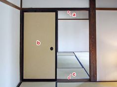 JAANUS / kamoi 鴨居::) kamoi 鴨居 b) *fusuma 襖 c) *shikii 敷居