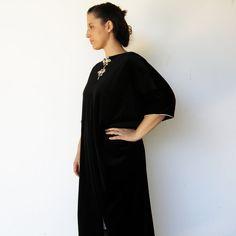 Vintage 1970s Tailor-Made Black Velvet Kaftan