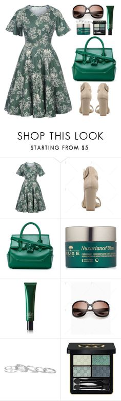 """""""Work Wear"""" by beebeely-look ❤ liked on Polyvore featuring Versace, Nuxe, Hermès, Kendra Scott, Gucci, vintage, WorkWear, officewear, floraldress and plussize"""