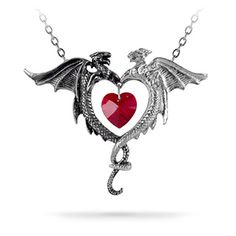 This Coeur Sauvage Necklace Pendant portrays a light and dark dragon, tails intertwined, a red Swarovski crystal (read: super-sparkly) heart held between them.