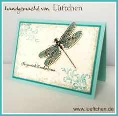 Lüftchen Stempelstudio Bergedorf, Libelle, Liebeleien, dragon fly dreams with Timeless Textures Butterfly Cards, Flower Cards, Dragon Dreaming, Karten Diy, Bee Cards, Stamping Up Cards, Animal Cards, Sympathy Cards, Homemade Cards