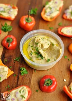 """Healthy Hummus Stuffed Peppers 