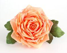 Orange rose. Flower hair clip. Peach fabric barrette, brooch. Wedding or prom silk accessories for hair. Wedding hair, headpiece_Arsiart