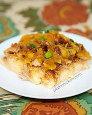 """www.PlainChicken.com Chicken Legs took one bite of this and said """"People should make this!"""". I agree. This BBQ Chicken and Grits Casserole was SO yummy! Chicken, BBQ sauce, bacon and cheese on top of cheesy grits! How could it not..."""
