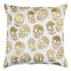 """Skull Pillow 24"""" - Gold from Z Gallerie...If I ever were really THAT into Halloween."""