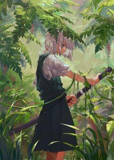 Youmu in jungle Anime Art Girl, Manga Art, Fantasy Kunst, Fantasy Art, Chica Anime Manga, Anime Scenery, Anime Artwork, Totoro, Anime Style