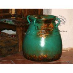 Poterie décorative patinée cache-pot en terre cuite