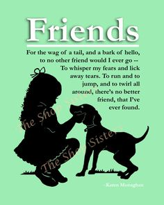 Girl and  Dog Poem Silhouette Friends