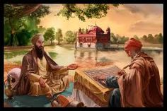 Guru Granth Sahib being written