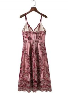 Spaghetti Strap Floral Lace Embroidery Party Dress - OASAP.com