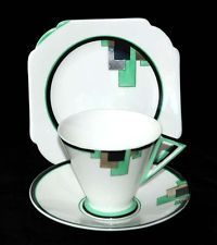 Vintage Shelley in pattern #11785. Colour Peppermint Green & Black and the style of the cup is Eve. Circa 1930-31.