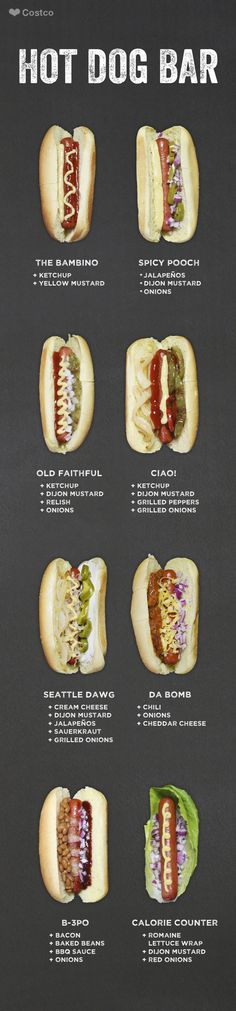 Whether you want to try the B-3PO or Old Faithful, go all out. Eight ways to dress up your hot dog coming right up!