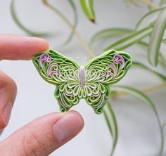 Butterfly necklace Butterfly pin brooch Clay jewelry Dainty necklace Insect jewelry Quilling art But Polymer Clay Creations, Polymer Clay Crafts, Handmade Polymer Clay, Polymer Clay Jewelry, Paper Quilling Jewelry, Quilling Art, Butterfly Ornaments, Butterfly Pin, Butterfly Necklace