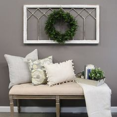 Windowpane design in distressed white finish. Embrace a rustic image with this window panel wall decor. Triangle hook for easy hanging. Dining Room Wall Decor, Wooden Wall Decor, Farmhouse Wall Decor, Entryway Wall Decor, Decorating A Large Wall In Living Room, Farmhouse Design, Modern Farmhouse, Decor For Large Wall, Wall Decor For Kitchen